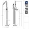 Напольный смеситель для ванны с душевым комплектом TZAR 348503DNM черный - фото №2