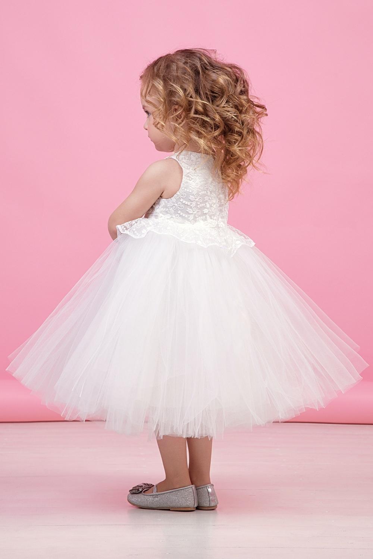 Платье белое для девочки 38-9013-1