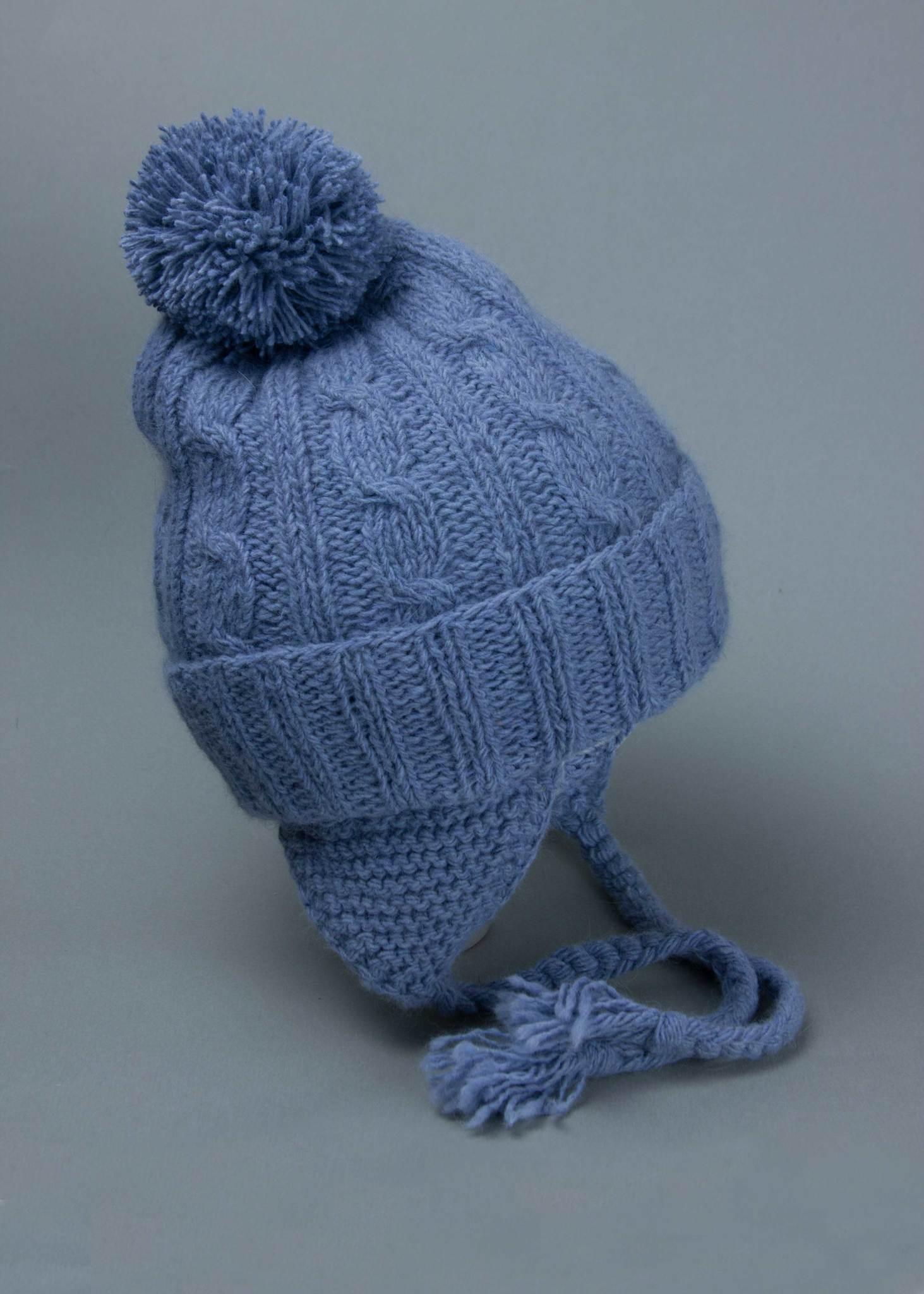 Вязаная шапка из ангоры для мальчика