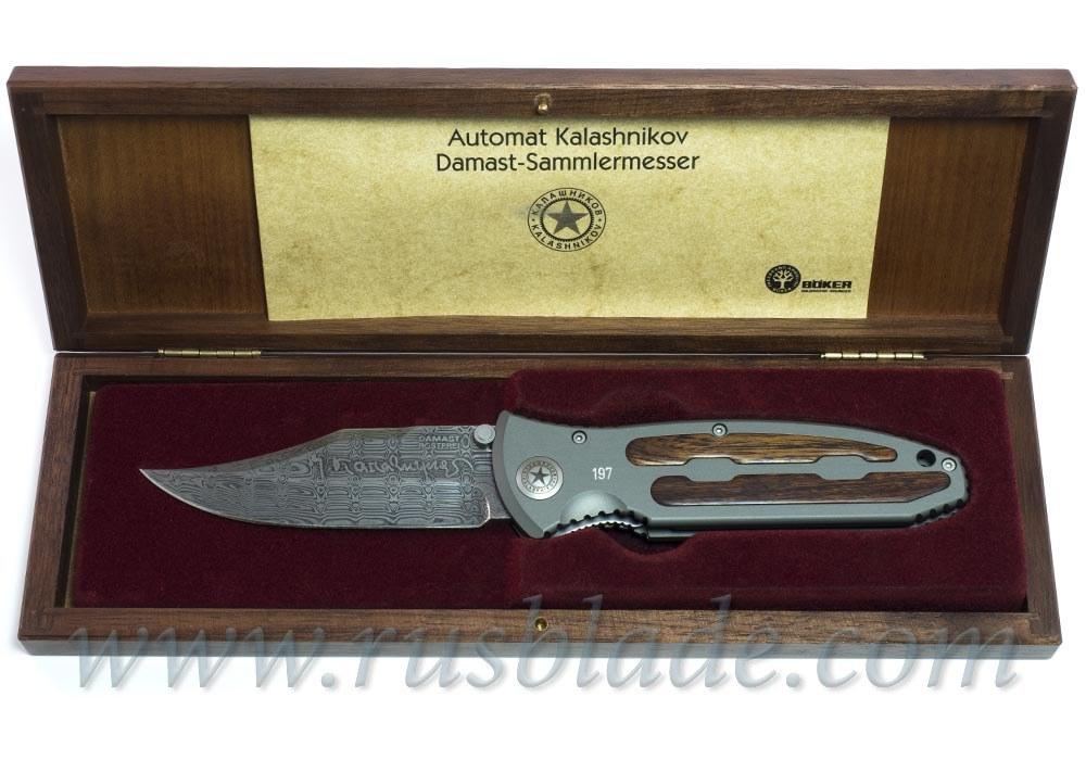 "Boker Kalashnikov Leo Damascus 4"" Blade with Aluminum Handle"