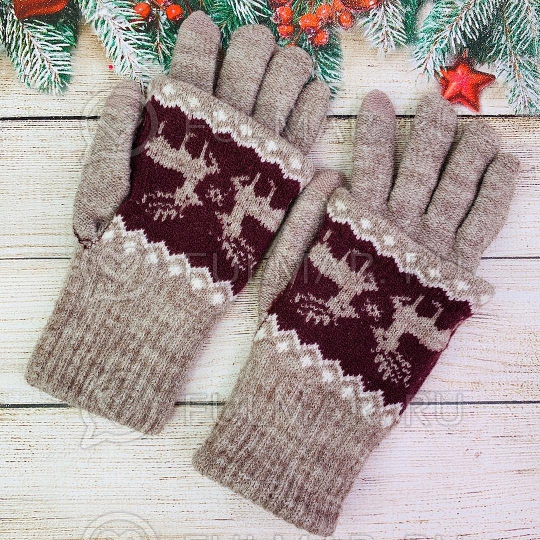 Перчатки для девочки с митёнками сенсорные два пальца Олени Пыльный розовый фото