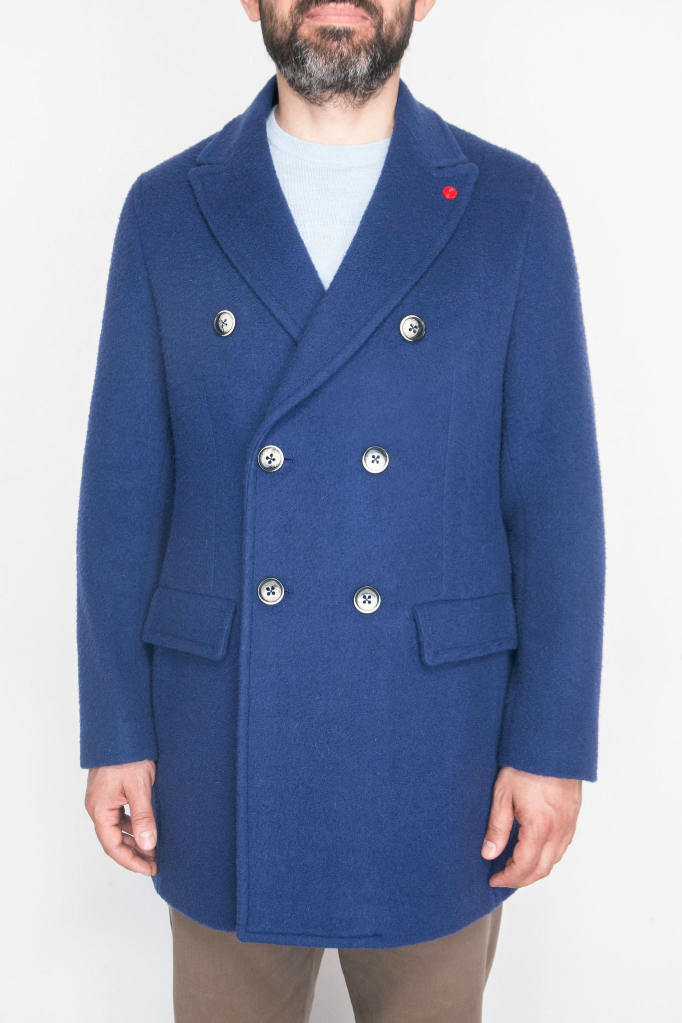 Двубортное синее шерстяное пальто узкого кроя