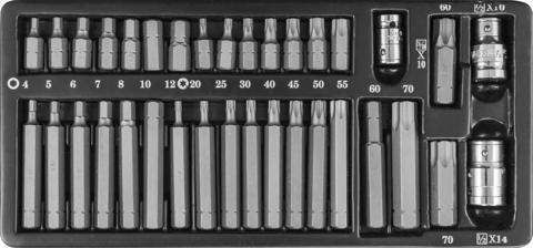S29H4135S Набор вставок-бит 10 мм и 14 мм DR с переходниками, 35 предметов