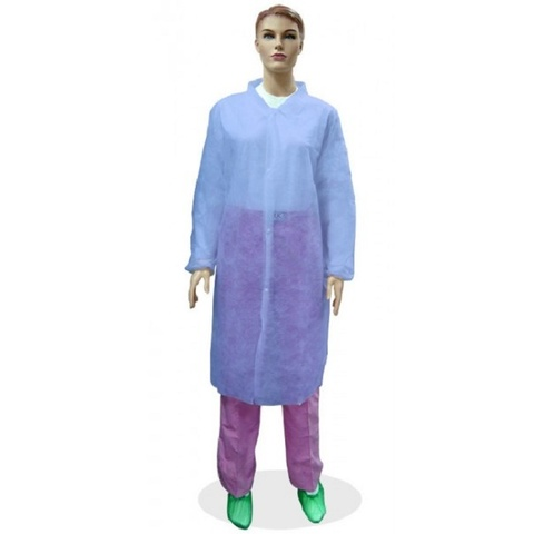 Халат одноразовый визитер на кнопках голубой 20 г/м2, размер -хl