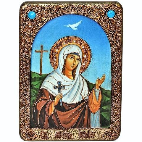 Инкрустированная Икона Святая мученица Иулия (Юлия) Карфагенская 29х21см на натуральном дереве, в подарочной коробке