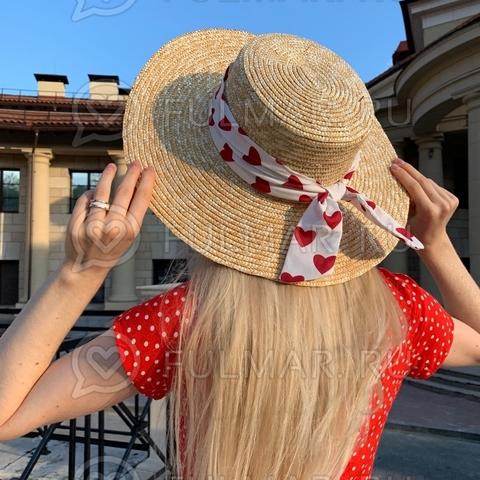 Соломенная женская летняя шляпа канотье с белой лентой Сердечки