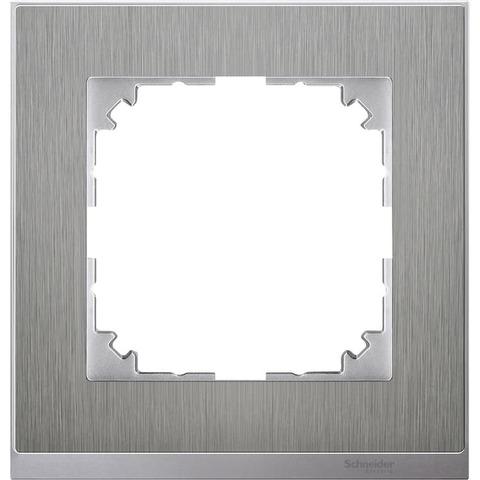 Рамка на 1 пост. Цвет Нержавеющая сталь/Алюминий. Merten. M-Pure Decor System M. MTN4010-3646