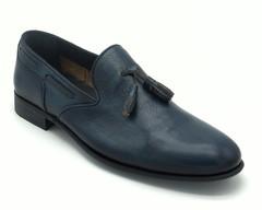 Синие кожаные полуботинки с декоративными кисточками