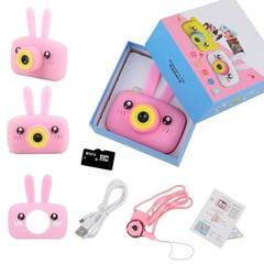 подарок ребенку на день рождения детский фотоаппарат зайчик зайка розовый 12 Мп