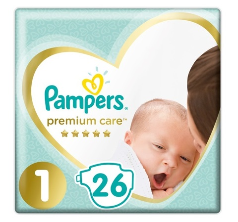 Подгузники Pampers Premium Care 1 (2-5 кг), 1уп/26шт