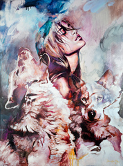 Картина раскраска по номерам 40x50 Девушка и волки