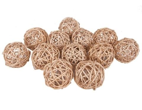 Плетеные шары из ротанга (набор:12 шт., d6 см, цвет: золото)