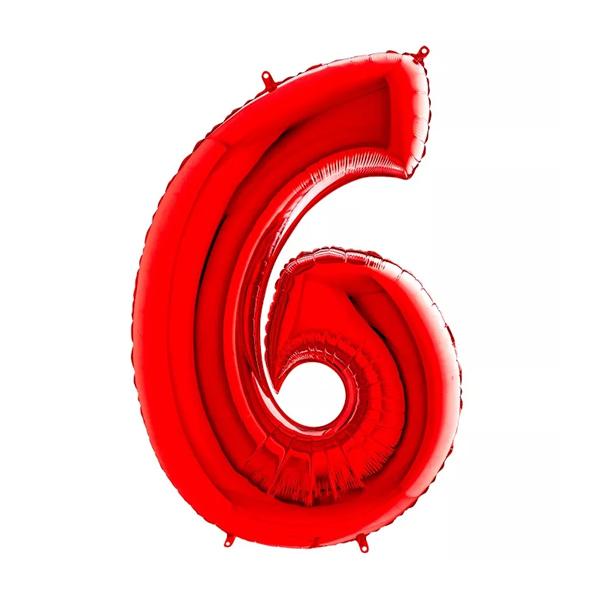 Фольгированная цифра 6, красный