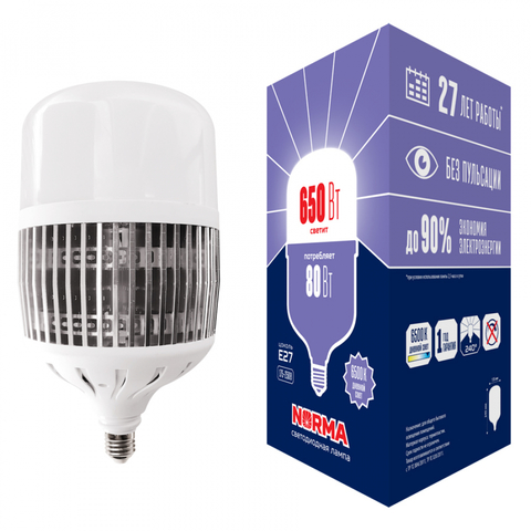 LED-M80-80W/6500K/E27/FR/NR Лампа светодиодная, матовая. Серия Norma. Дневной белый свет (6500K). Картон. ТМ Volpe.