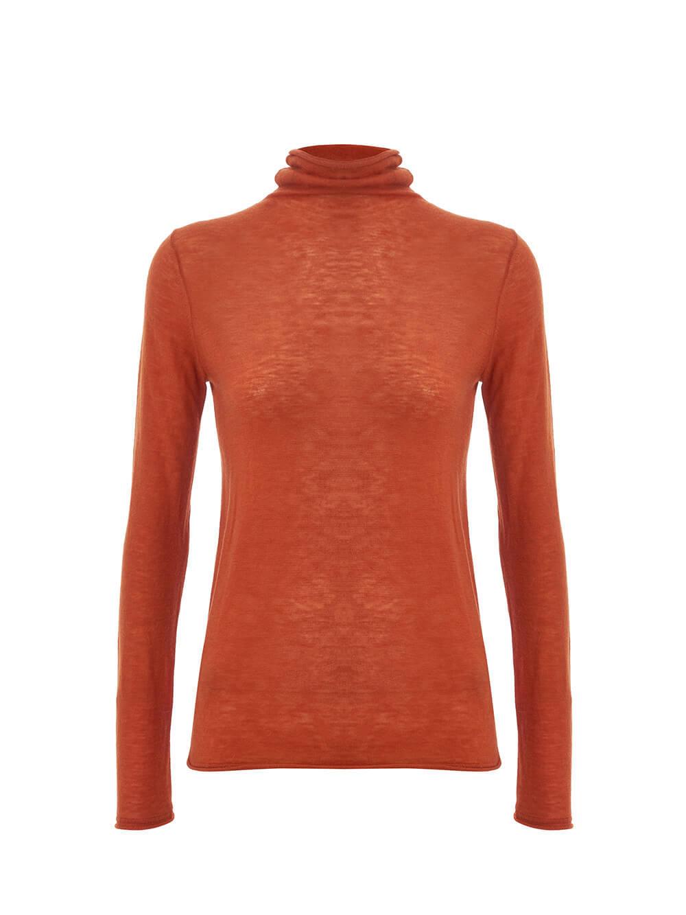 Женский свитер оранжевого цвета из 100% шерсти - фото 1