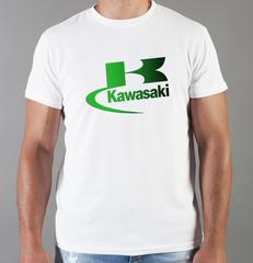 Футболка с принтом Кавасаки (Kawasaki) белая 0011