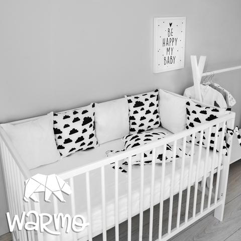 Набір бортиків-подушок в ліжечко 30x30см ХМАРИНКИ (БІЛІ)
