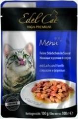 Пауч для кошек Edel Cat нежные  кусочки в соусе, лосось, форель