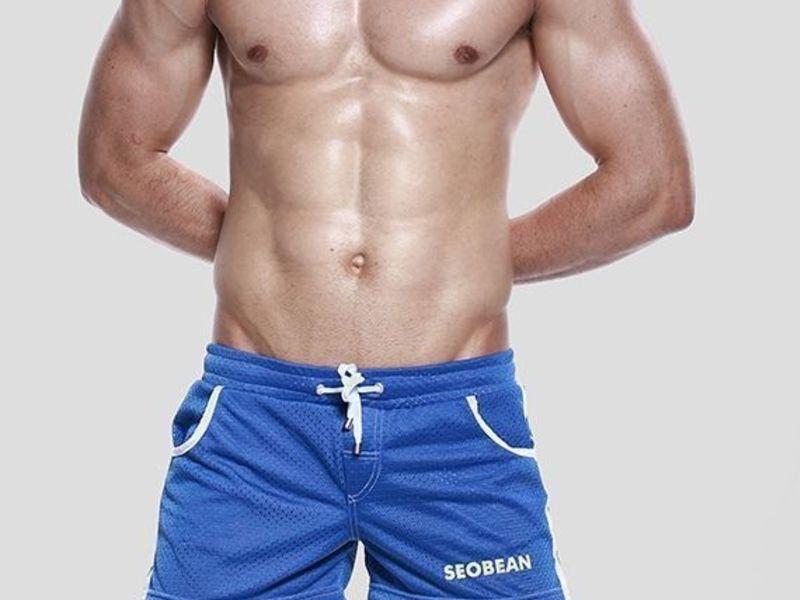 Мужские шорты синие в сетку Seobean Sport Shorts Blue 40506