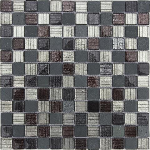 Мозаика стеклянная с камнем Alcantara Nero 23x23x8 298х298