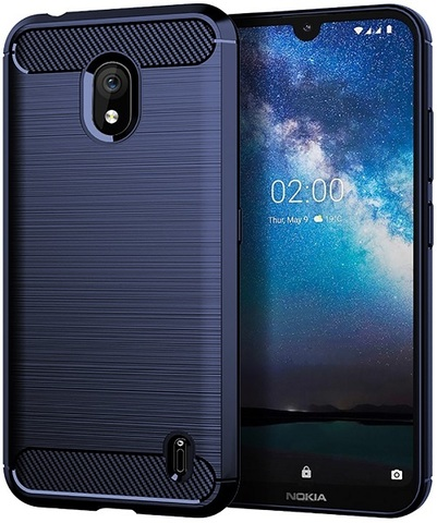 Чехол Nokia 2.2 цвет Blue (синий), серия Carbon, Caseport
