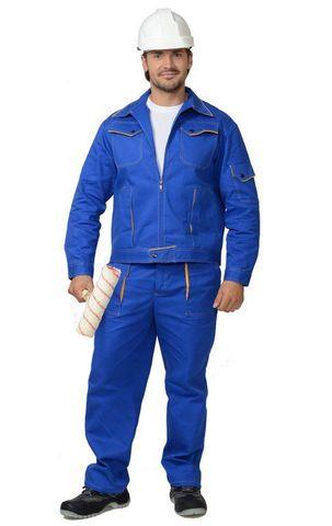 Костюм  куртка, брюки (100%-х/б. пл.250 г/м2) васильковый с желтым кантом