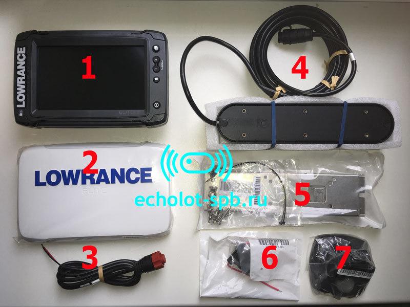 Комплект поставки Lowrance Elite-7 Ti2 с датчиком Active Imaging 3-in-1