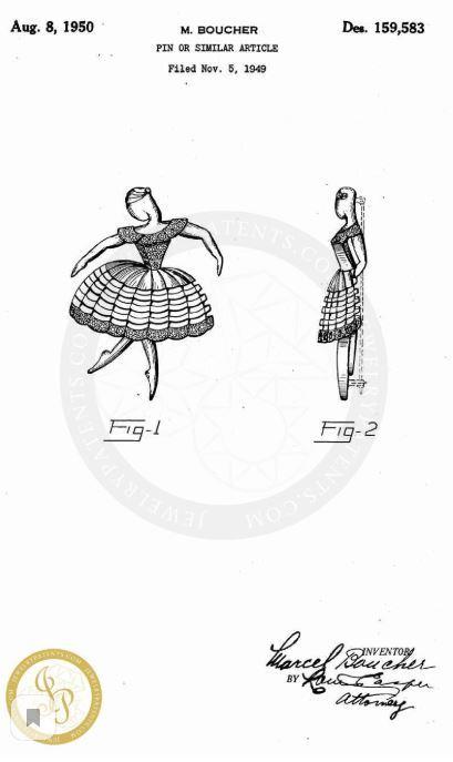 "Брошь ""Балерина"" из серии ""Ballet of Jewels"" Boucher 1950 год, bookpiece"
