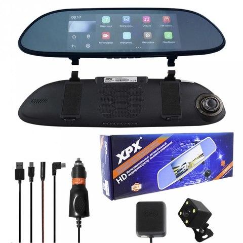 Автомобильный видеорегистратор XPX ZX858 Зеркало встроенный дисплей 7 дюймов  Wi-Fi  GPS высокое разрешение