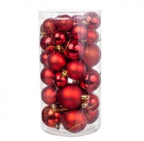 Набор шаров 36шт. (пластик), D3-5см, цвет: красный