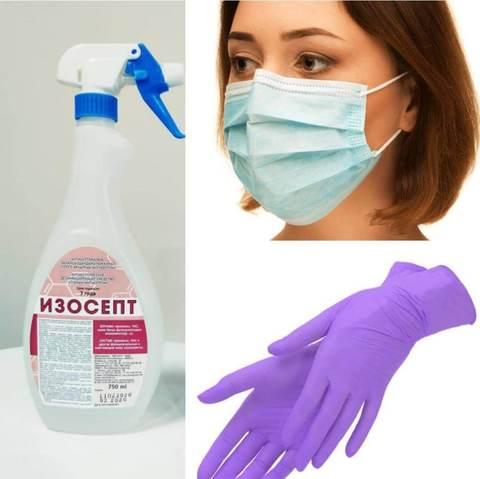 Набор 4: антисептик для рук 0.75л, маски 50 шт и перчатки 100 шт