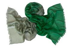 Палантин бело-зеленый шерстяной 0007