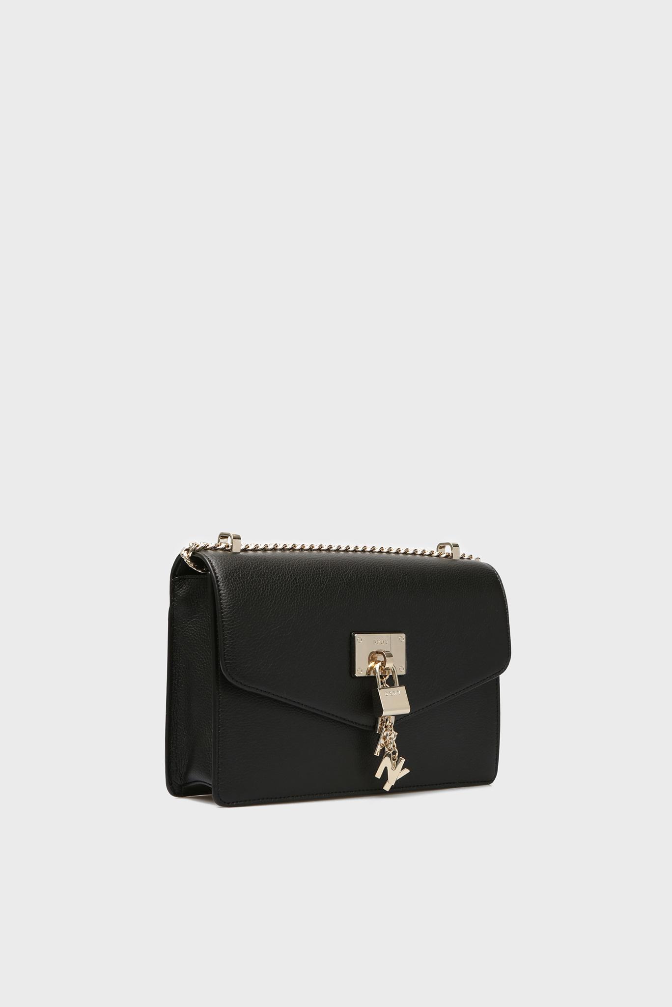 Женская черная кожаная сумка через плечо ELISSA-LG DKNY