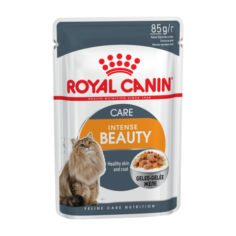 Royal Canin Intense Beauty Консервы для взрослых кошек для поддержания здоровья кожи и блеска шерсти кусочки в желе (Пауч)