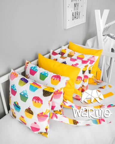 Набір бортиків-подушок в ліжечко 30x30см КЕКСИ