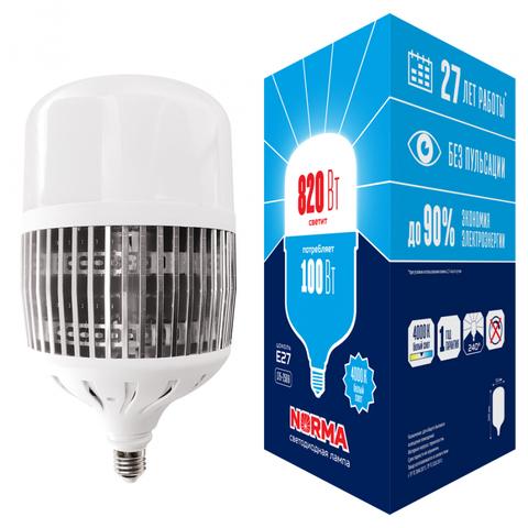 LED-M80-100W/4000K/E27/FR/NR Лампа светодиодная, матовая. Серия Norma. Белый свет (4000K). Картон. ТМ Volpe.
