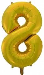 Шар (34''/86 см) Цифра, 8, Золото, 1 шт.