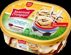 """Мороженое """"Золотой стандарт"""" пломбир суфле в шоколаде 475г контейнер"""