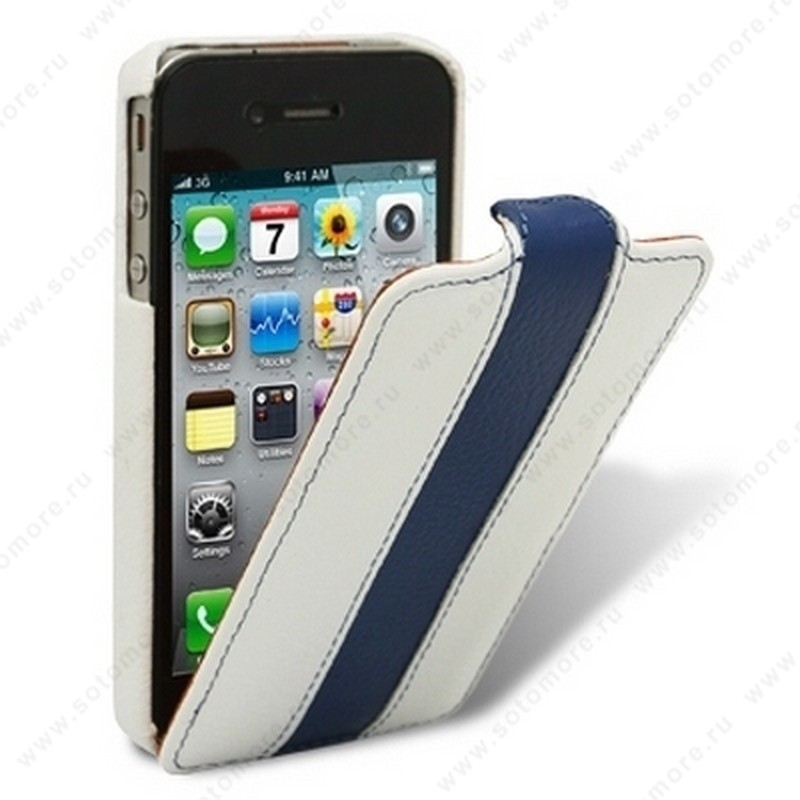 Чехол-флип Melkco для iPhone 4s/ 4 Leather Case Limited Edition Jacka Type (White/Blue LC)