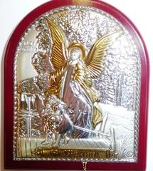 Серебряная с золочением икона Ангел Хранитель 8,5х7см
