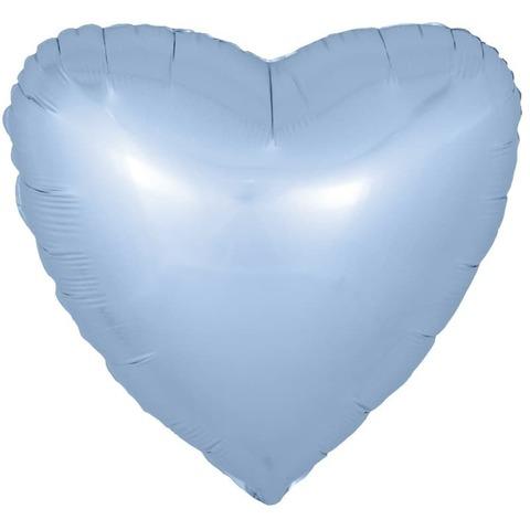 Фольгированный воздушный шар большое сердце, голубое , 81 см