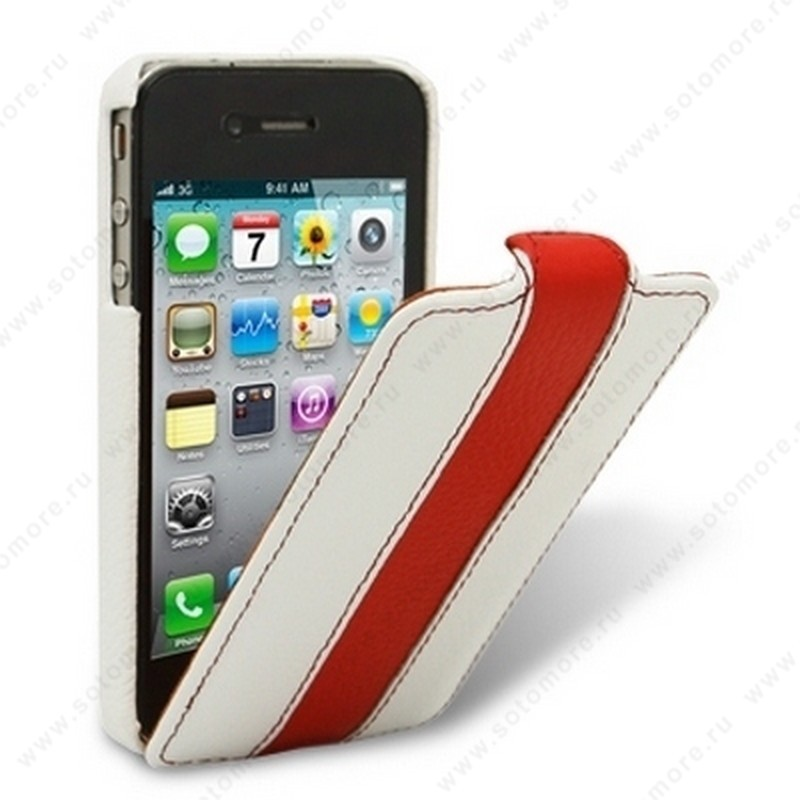 Чехол-флип Melkco для iPhone 4s/ 4 Leather Case Limited Edition Jacka Type (White/Red LC)