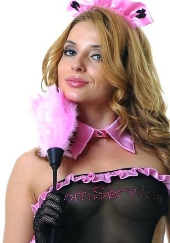 Тиклер с перьями для костюмов горничной розовый
