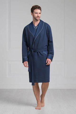Мужской халат 55177 тёмно-синий Laete