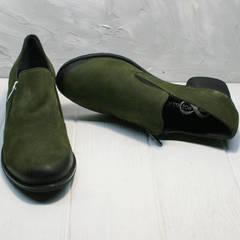 Повседневные туфли из натуральной кожи женские демисезонные Miss Rozella 503-08 Khaki.