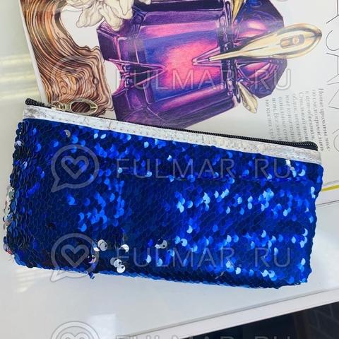Пенал для девочки школьный одно отделение в двусторонних пайетках меняет цвет Синий-Зеркальный
