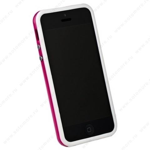 Бампер для iPhone SE/ 5s/ 5C/ 5 белый с розовой полосой