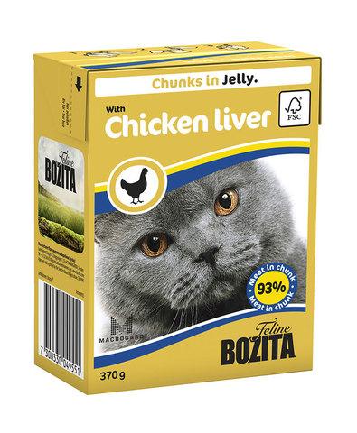 BOZITA консервы для кошек кусочки в желе с куриной печенью 370 г