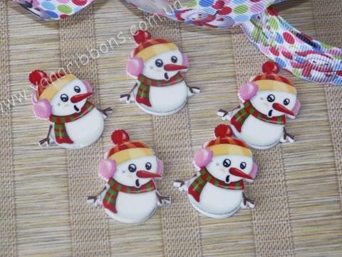 Плоский декор Снеговички в наушниках