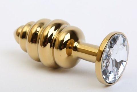 Золотистая ребристая анальная пробка с прозрачным стразом - 7,3 см.